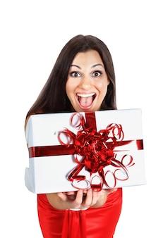 Piękna dziewczyna z prezentami