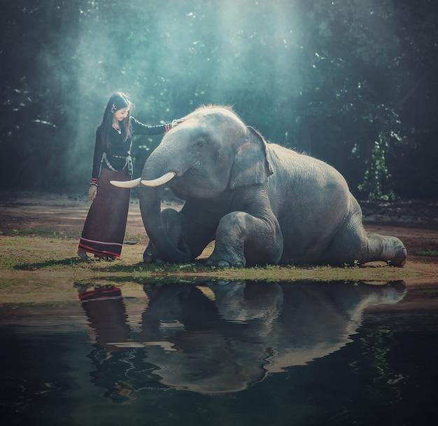 Piękna dziewczyna z uśmiechniętym słoniem, słoń wioska, surin, tajlandia