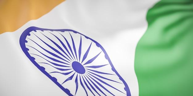 Piękna fala flaga indii z bliska na tle transparentu z miejsca na kopię., model 3d i ilustracja.