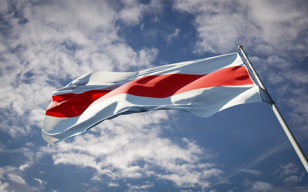 Piękna flaga państwowa białorusi powiewający protest