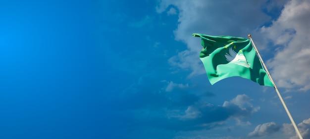 Piękna flaga państwowa makau z pustą przestrzenią na szerokim tle z miejscem na tekst grafiki 3d.