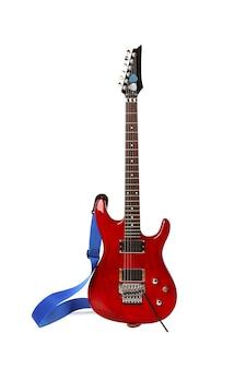 Piękna gitara elektryczna na białym tle