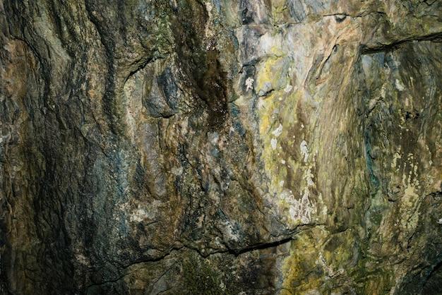 Piękna jaskinia. widok z wnętrza ciemnego lochu.