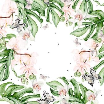 Piękna karta akwarela z tropikalnymi liśćmi, kwiatem orchidei, motylem. ilustracja