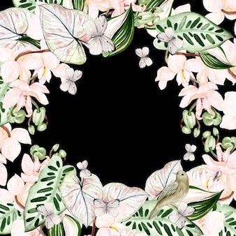 Piękna karta akwarela z tropikalnymi liśćmi, kwiatem orchidei, ptakiem i motylem. ilustracja