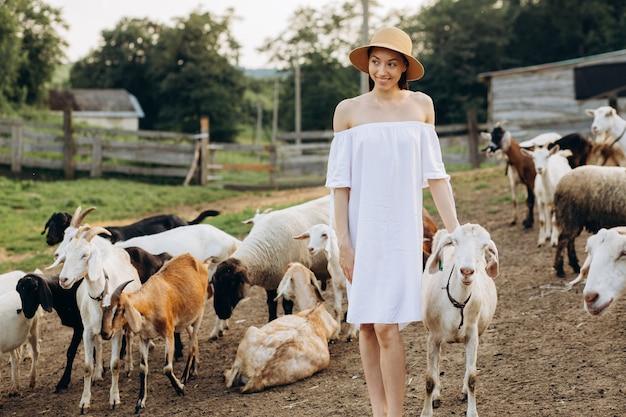 Piękna kobieta w białej sukni i beżowym kapeluszu wśród kóz na ekologicznej farmie