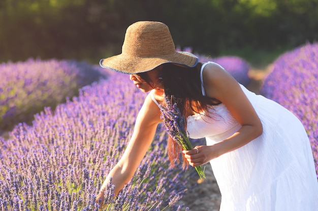 Piękna kobieta w białej sukni zbiera lawendę i trzyma bukiet lawendy z drugiej strony