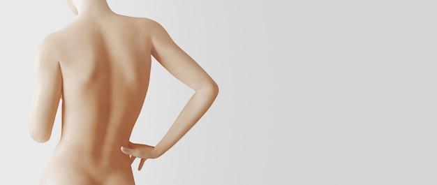 Piękna kobieta, widok z tyłu, odizolowana na białej ścianie, ilustracja renderowania 3d