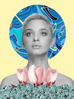 Piękna kobieta z kwiatami na żółtym tle. ujemna przestrzeń do wstawienia tekstu. nowoczesny design. współczesny kolorowy i konceptualny jasny kolaż artystyczny do reklamy. zin w stylu retrowave.