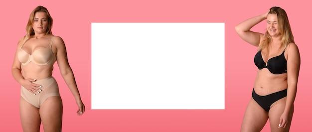 Piękna kobieta z nadwagą w beżowym stroju kąpielowym na różowym tle. pozytywna koncepcja ciała. skopiuj miejsce.