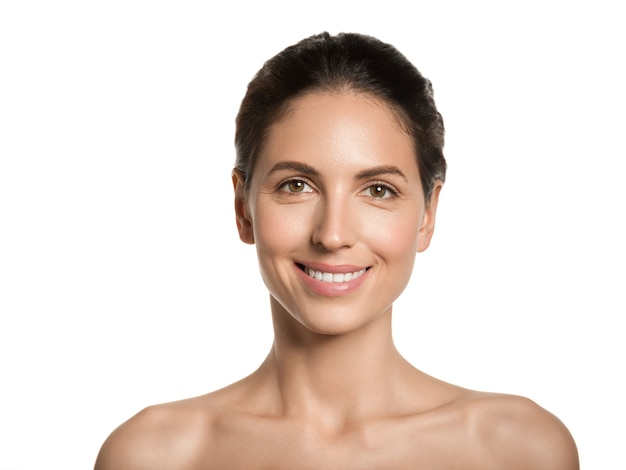 Piękna kobieta zdrowa skóra piękna twarz koncepcja kosmetyczna