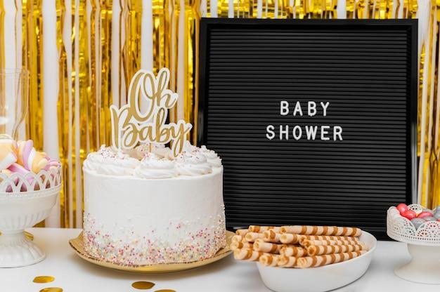 Piękna koncepcja baby shower z miejsca na kopię