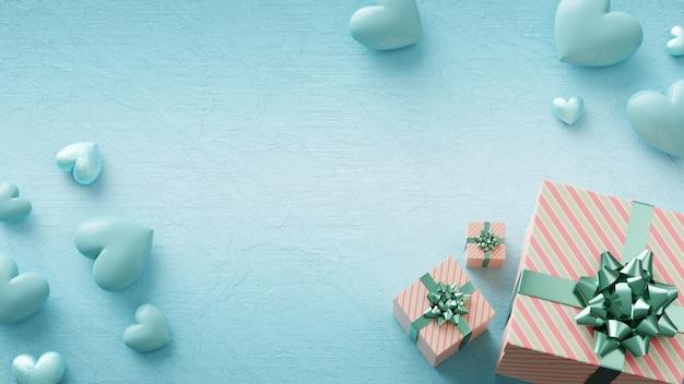Piękna koncepcja z błyszczącymi niebieskimi sercami i pudełkami prezentowymi. walentynki