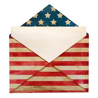 Piękna koperta pocztowa pomalowana w narodowych barwach flagi amerykańskiej.