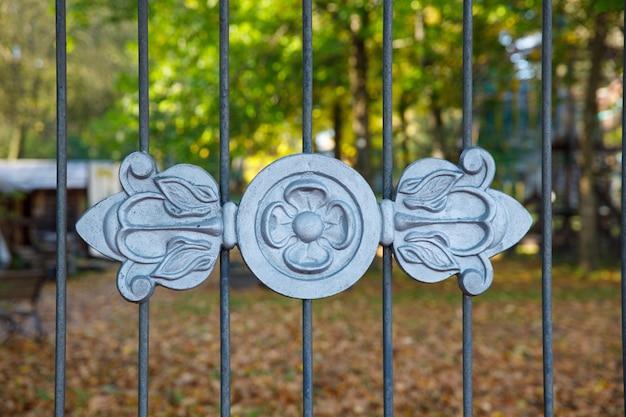 Piękna krata z kutego żelaza w parku jesienią