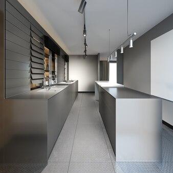 Piękna kuchnia z ciemnymi meblami nowego loftu. renderowania 3d.