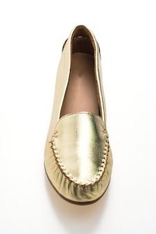 Piękna luksusowa moda złote buty kobieta