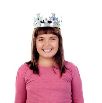 Piękna mała dziewczynka z koroną księżniczki
