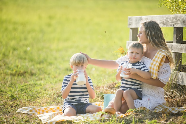 Piękna mama i jej synowie na pikniku