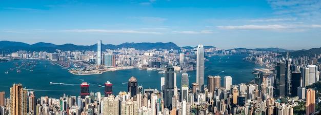 Piękna miasto linia horyzontu hong kong, chiny