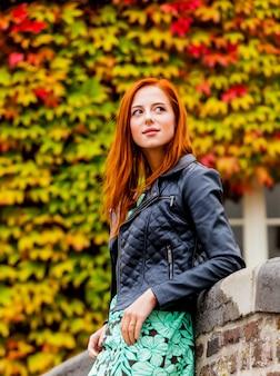 Piękna młoda kobieta stoi blisko kamiennego ogrodzenia i bada miasteczko