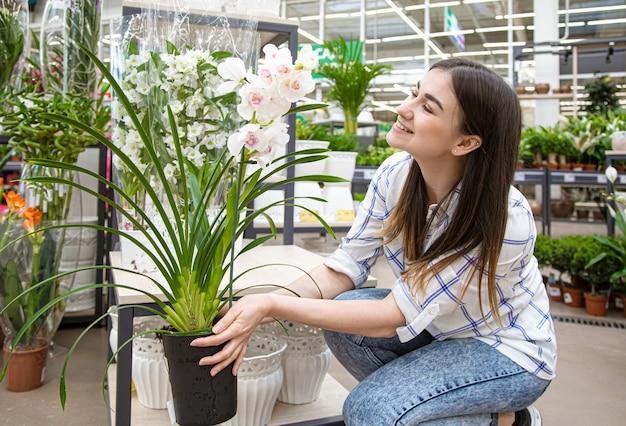 Piękna młoda kobieta w kwiaciarni i wybierając kwiaty. pojęcie ogrodnictwa i kwiatów.