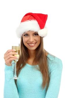 Piękna młoda kobieta z lampką szampana, na białym tle