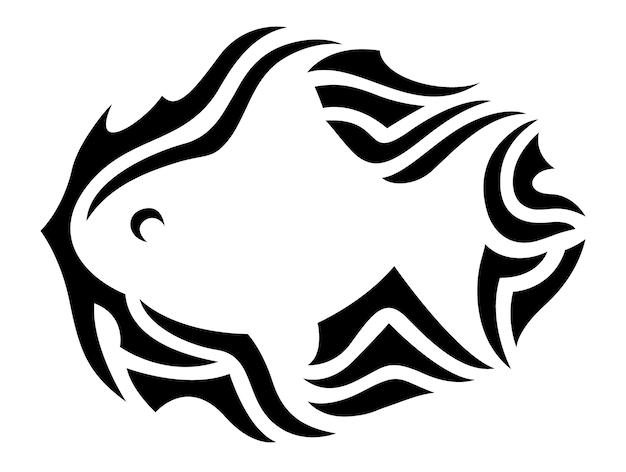 Piękna monochromatyczna ilustracja wektorowa z izolowanym czarnym wzorem plemiennym wokół sylwetki białej ryby