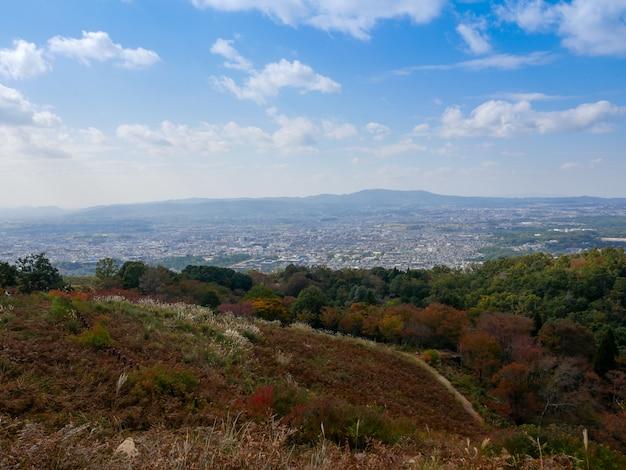 Piękna nara góra przy nara miastem, japonia. park nara to znane miejsce, w którym można zobaczyć dzikie zwierzęta