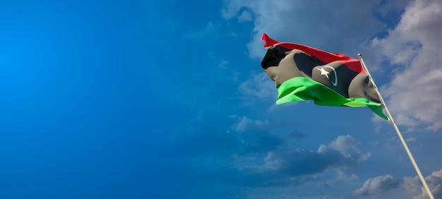 Piękna narodowa flaga libii z pustym miejscem na szerokim tle z miejscem na tekst grafiki 3d.