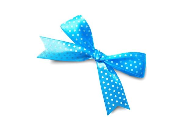 Piękna niebieska kokardka w białe kropki