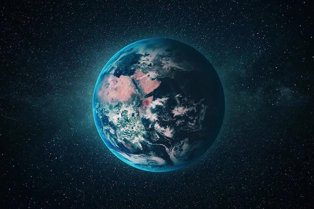 Piękna niebieska planeta ziemia w przestrzeni kosmicznej z gwiazdami. kosmiczna tapeta