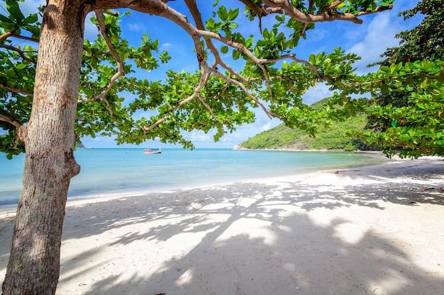 Piękna niesamowita niesamowita tropikalna plaża, biały piasek, błękitne niebo z chmurami i odbiciem