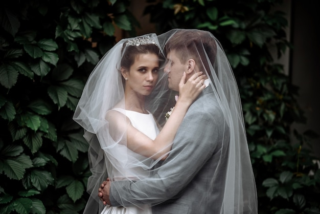 Piękna para pana młodego i panny młodej kobiety nowożeńcy w ogrodzie przytulanie pod zasłoną