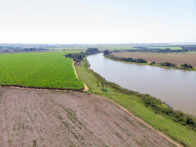 Piękna plantacja trzciny cukrowej w brazylii. widok z lotu ptaka,
