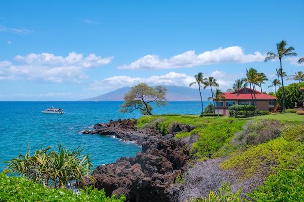 Piękna plaża w tropikalnej plaży aloha hawaje z palmami wakacje i koncepcja wakacji tropikalna plaża