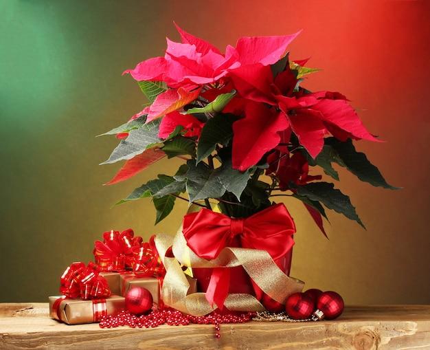Piękna poinsecja w doniczce, prezenty i bombki na drewnianym stole na jasnym tle