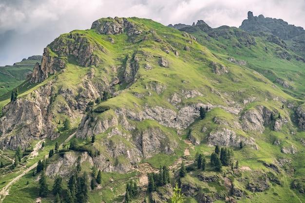Piękna przyroda z zielonym wzgórzem w alpach