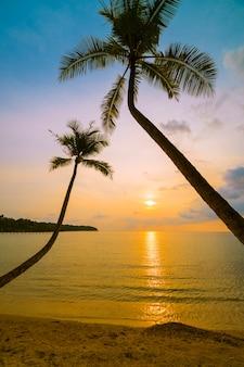Piękna rajska wyspa z plażą i morzem wokoło kokosowej palmy