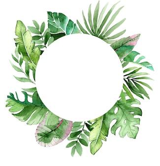 Piękna rama akwarela z tropikalnymi liśćmi