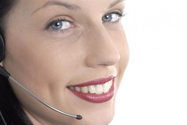 Piękna recepcjonistka telefoniczna