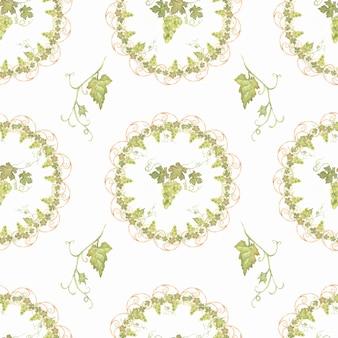Piękna ręka akwarela bezszwowe ciągnione zielony i żółty wzór z winogron gałęzi i liści. na białym tle. idealny do projektowania. zbierz słodki czas.