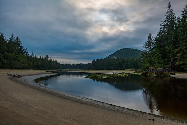 Piękna rzeka san josef w pochmurny poranek z odbiciem w parku prowincjonalnym cape scott na wyspie vancouver, kolumbia brytyjska, kanada.