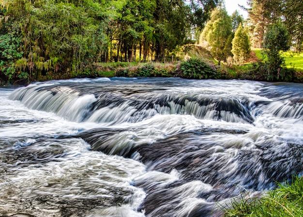 Piękna sceneria rzeki mokau na trasie omaru w waikato w drodze do głównych wodospadów