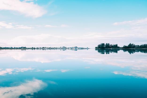Piękna sceneria szeregu drzew odbijających się w jeziorze pod pochmurnym niebem