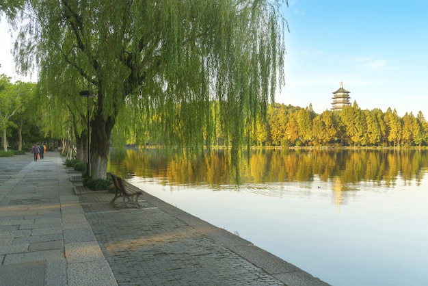 Piękna sceneria zachodni jezioro, hangzhou