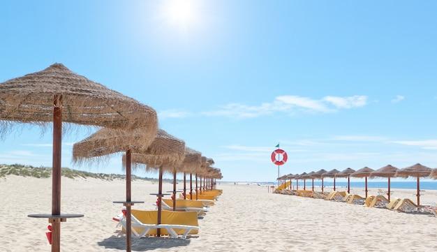 Piękna słoneczna plaża w portugalii z parasolami i leżakami nad morzem. lato.