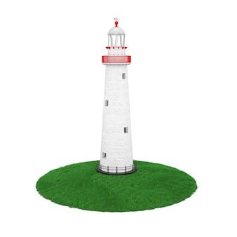 Piękna stara latarnia morska nad kawałek ziemi trawy na białym tle. renderowanie 3d