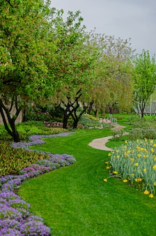 Piękna świeża trawa w ogrodzie w stylu europejskim. wczesna wiosna.