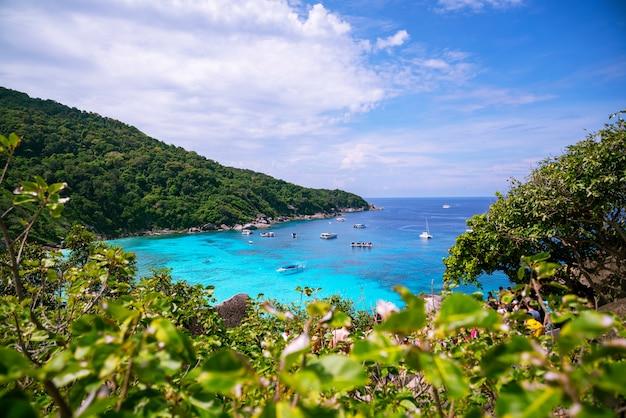 Piękna tropikalna denna similan wyspa no 8 przy similan parkiem narodowym, phang nga tajlandia